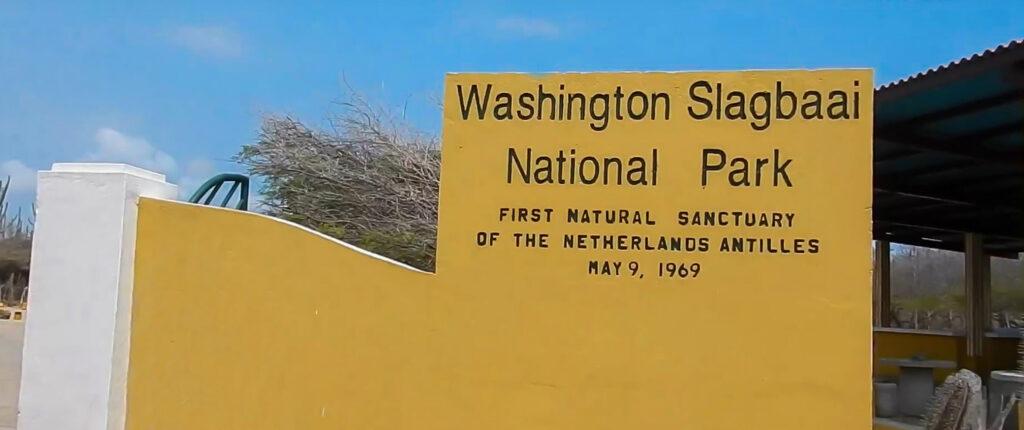 Bord bij de ingang van WSNP Bonaire