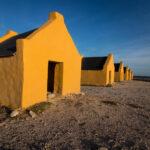 Gele slavenhuisjes Bonaire van dichtbij