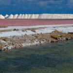 De zoutpannen van Bonaire met op de voorgrond een zoutmeer